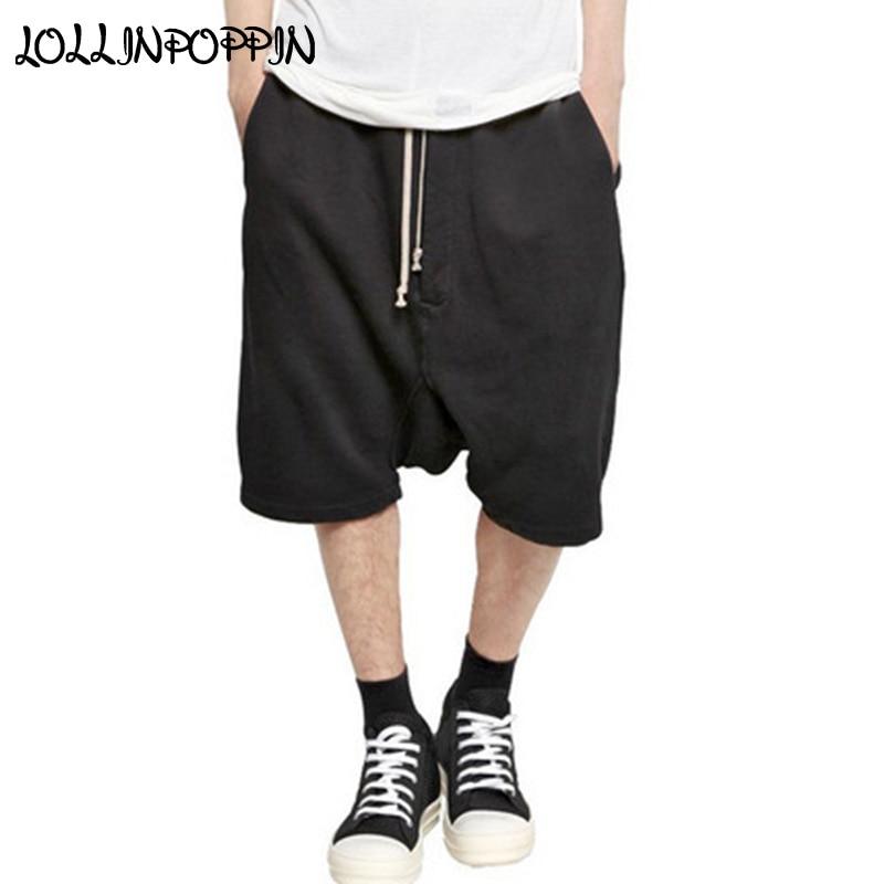 Mens Drop Crotch Harem Shorts Streetwear Knee Length Drawstring Elastic Waist Hip Hop Loose Sweatpants Shorts