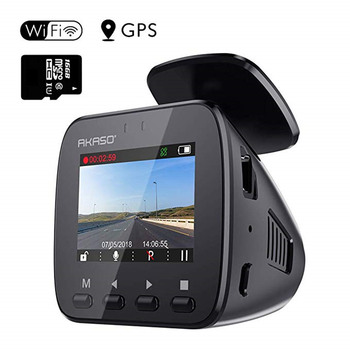 Car DVR WiFi Dash Cam with GPS AKASO V1 1296P Full HD Dash Camera for Cars 16GB Memory Card Included Phone App 170° Wide Angle image