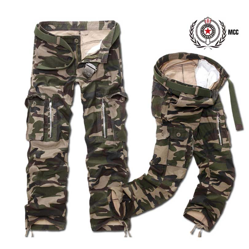 War Game Cargo Pants Mens Loose Casual Pants Multi Pocket Zipper Mens Trousers Camouflage Army Military