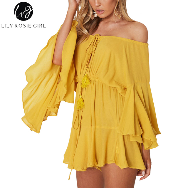 Lily Rosie Girl Off Shoulder Yellow Sexy Playsuits Women Big Flare Sleeve red Jumpsuits 2018 Beach Party Casual Backless Rompers