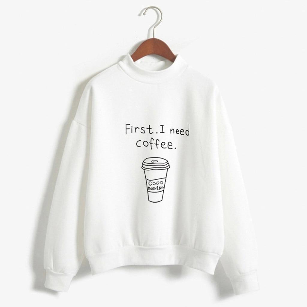 Autumn Winter Long Sleeve Hooded Harajuku Hoodies For Girls Sweatshirts Coffee Cup Pattern Long Sleeve Plus Velvet Sweatshirt