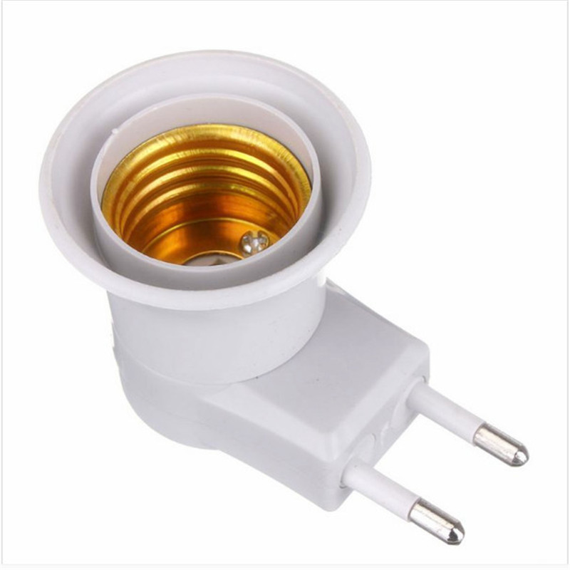 Promotion E27 220V 6A LED Light Male Socket to EU Type Plug Adapter Converter for Bulb Lamp Holder With ON/OFF Button