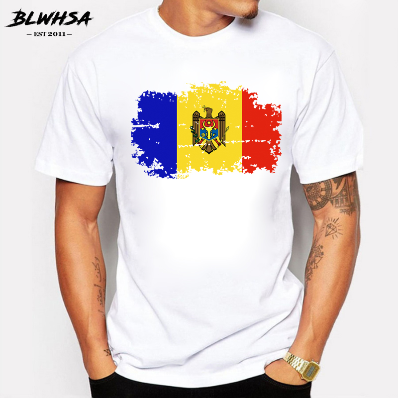 BLWHSA Moldova Flag Men   T     shirts   Fashion Short Sleeve Cotton Nostalgia Style   T  -  shirts   For Men Summer Fitness Fans Cheer Tshirt