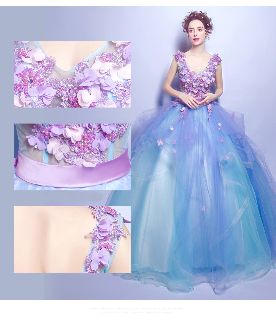 Angel Wedding Dress Marriage Bridal Gown 2017 Prom Blue flowers deep v-neck long2538 6