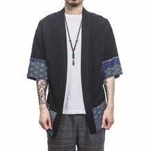 Men Cotton Linen Patchwork Shirt Streetwear Short Sleeve Summer Harajuku Vintage Kimono Shirts Black White Fashion Open Stitch
