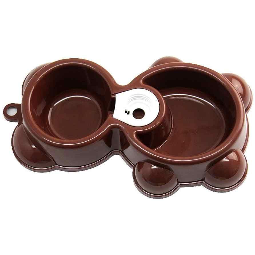 Gorąca sprzedaż! Danie wody podajnik żywności fontanna niedźwiedź podwójna miska Hot Puppy pies miska dla kotów Drop Shipping Apr21