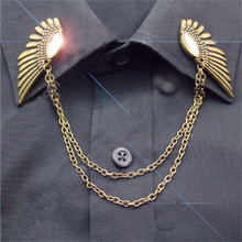 цена на New retro high-grade long chain brooch men's retro wings rhinestone stand collar chain brooch jewelry men's suit men's brooch
