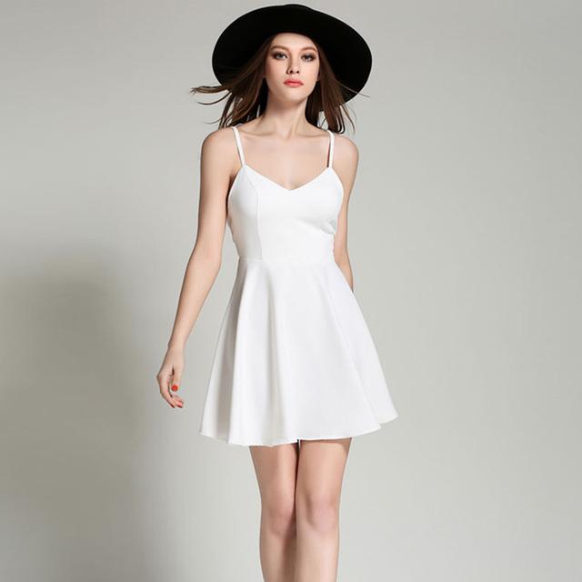 MOARCHO Summer Black White Lace Angel Wings Dress Casual Slim Sexy Backless Beach Dresses Women Spaghetti Strap Vestidos