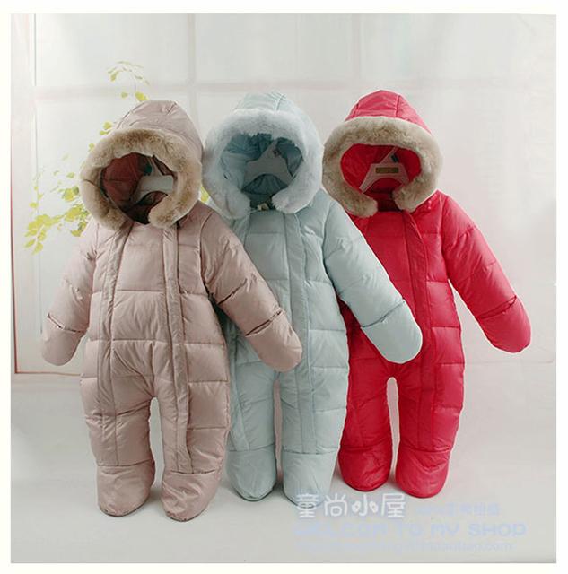 Venta caliente 2017 de invierno recién nacido monos para niños monos y chaquetas de pato térmica clothing, recién nacidos niñas ropa