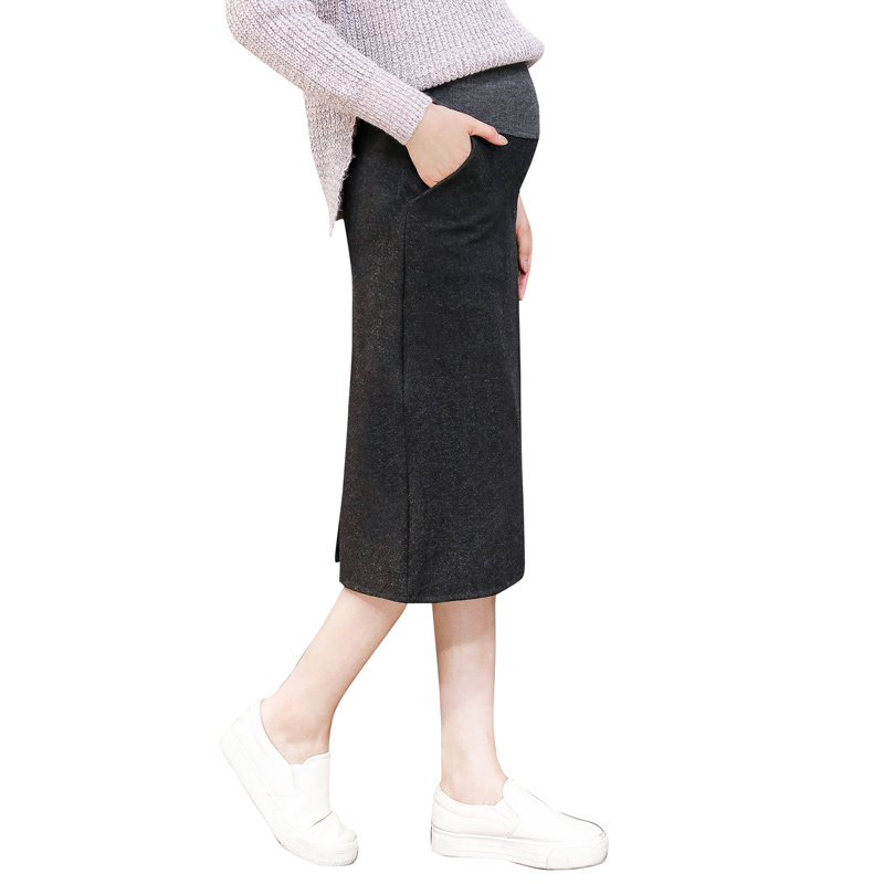 Pengpious 2019 autumn winter Maternity clothes Korean style pregnant women empired belly skirts knee-length woolen pencil skirts girl
