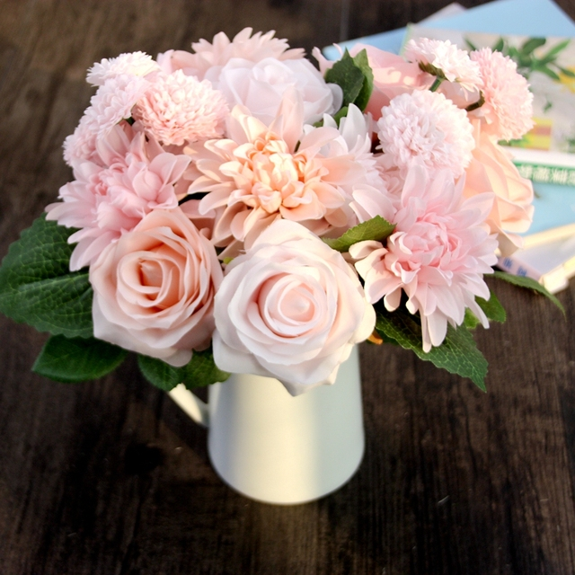 4 72 Saideke Maison Artificielle Fleurs Rose Dahlia Fleur Vivid Faux Feuille De Melange Combinaison De Mariee Bouquets Decoration Dans Artificielle