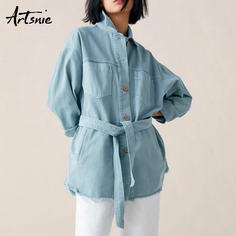 Artsnie streetwear double pockets denim women jacket spring 2019 casual sashes jeans loose long   coats   female chaquetas Mujer
