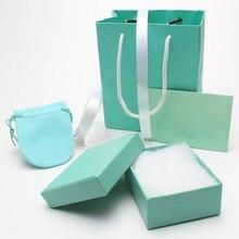 Низкая цена зеленая высококачественная бумага модная дизайнерская бижутерия подарочные пакеты коробки ярлыки и серебряная ткань упаковка набор PK7