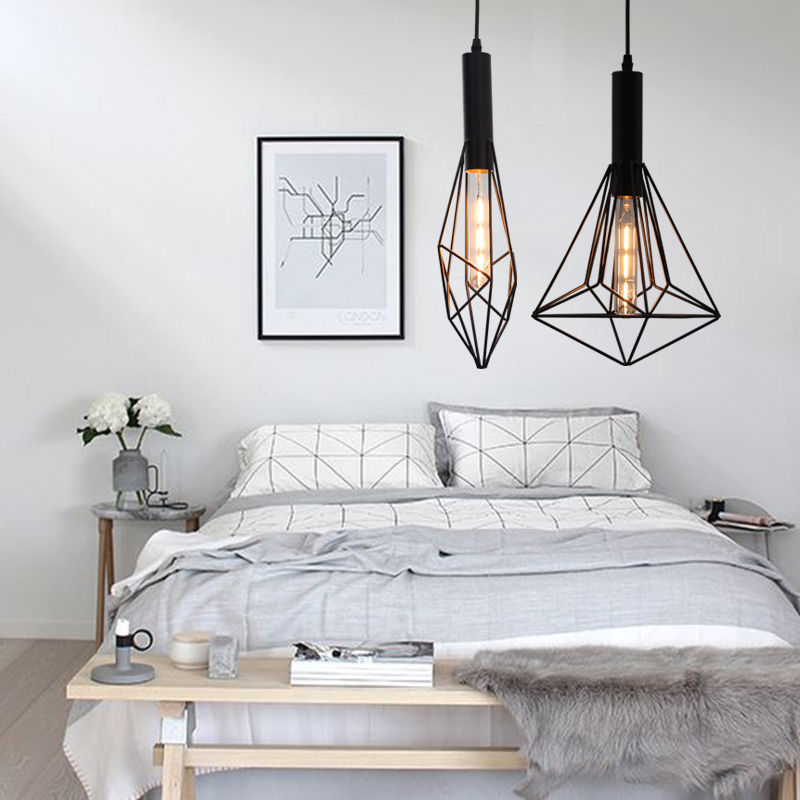 American retro iron birdcage pendant light living room bar balcony bedroom hanging light the birdcage