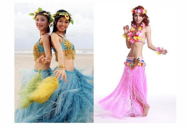 7f788becc3df 5PCS/set Plastic Fibers Women Grass Skirts Hula Skirt Hawaiian costumes  60CM Ladies Dress Up Festive & Party Supplies
