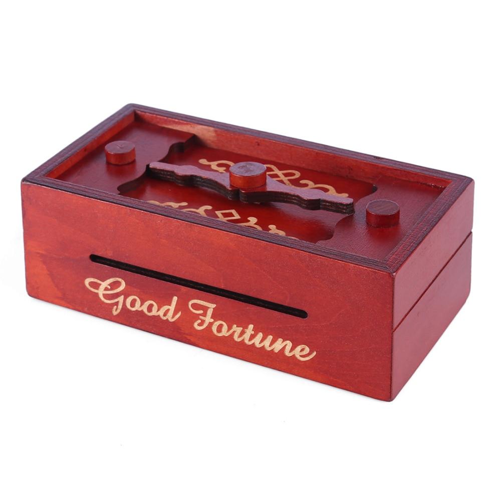 Wooden Puzzle Box Secret Trick Intelligence Compartment Magic Money Gift Box Brain Teaser Logic Educational Toy