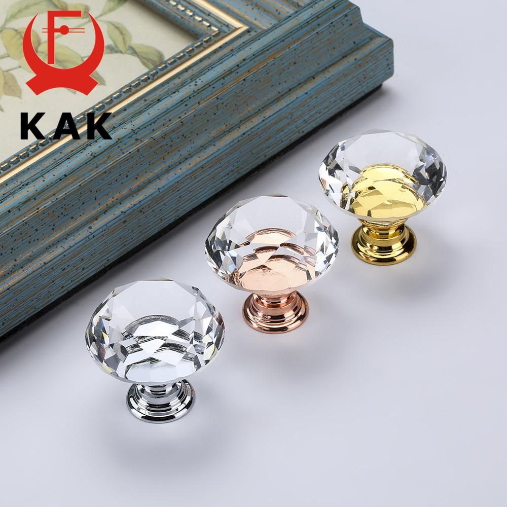 KAK 30mm Diamond Shape Crystal Glass Knobs And Handles Dresser Drawer Knobs Kitchen Cabinet Handles Furniture Handle Hardware