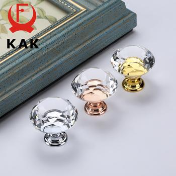 KAK 30mm diamentowy kształt szkła kryształowego gałki i uchwyty komoda z szufladami gałki szafki kuchenne uchwyty meblowe uchwyt sprzętu tanie i dobre opinie Obróbka metali Szkło kryształowe Handle-6726 Meble uchwyt i pokrętła Nowoczesne Gold Base Silver Base Rose Gold Base