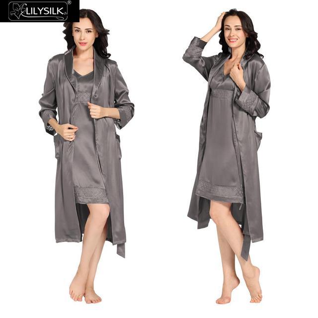 Lilysilk Women Pure Silk Nightgown Robe Set Pijama Lingerie Sexy Femme Winter 22 Momme Lace Dark Grey Sleepwear Dress Luxury