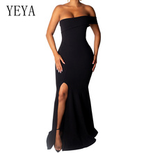 YEYA High Split Floor-length Maxi Dress Women Sexy Strapless Hollow Out Bodycon Party Summer Elegant Robe Longue Boheme