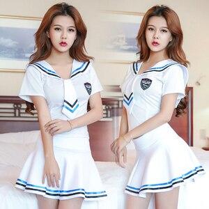 Image 4 - 2018 nowa seksowna bielizna dziewczyny szkoła sailor uniform moda szkoła klasa granatowy Cosplay Woaixdd Sexy mundurek szkolny
