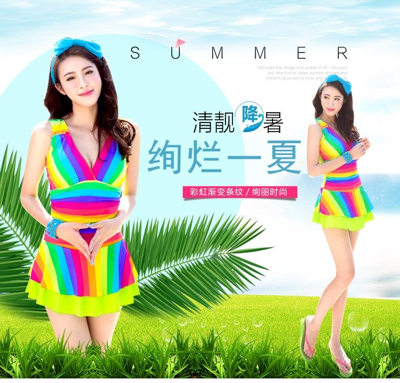 ФОТО Plus Size Swimwear One Piece Swimsuit Beach Wear Beachwear Large Swimsuits Rainbow Colored Jumpsuit Traje De Bano Mujer Badpak