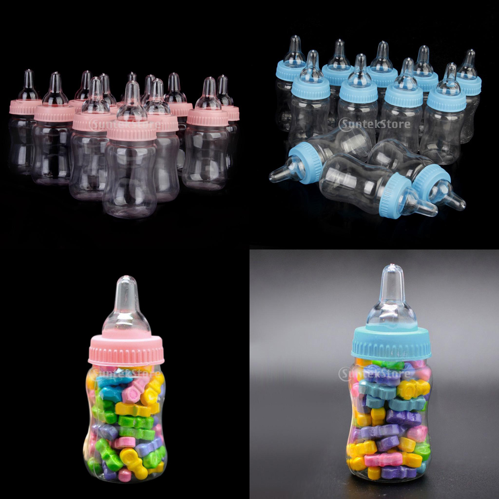 New Hot Sale 12x Milk Bottles Baby Shower Christening Favors Party Decor Girls Boys Party Supplies Candy Box Home Decoration