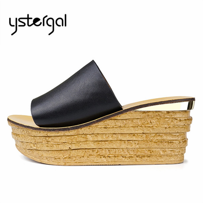 Ystergal 2019 New Summer Women Wedge Slippers High Heel Platform Pumps Beach Shoes Woman Gladiator Sandals