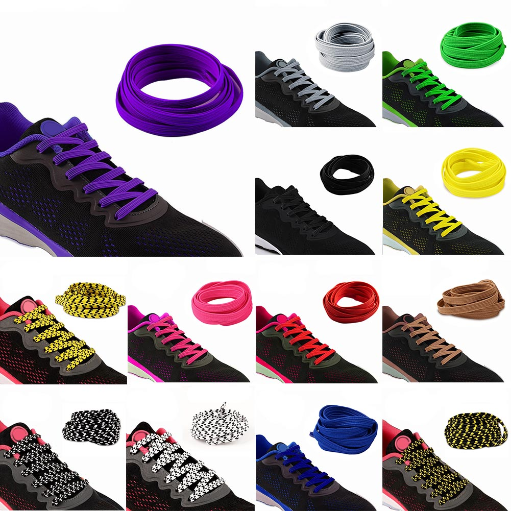 все цены на 1pair 100CM Stretching Locking no tie lazy shoeLaces sneaker Elastic Rubber Shoe lace children safe elastic shoelace