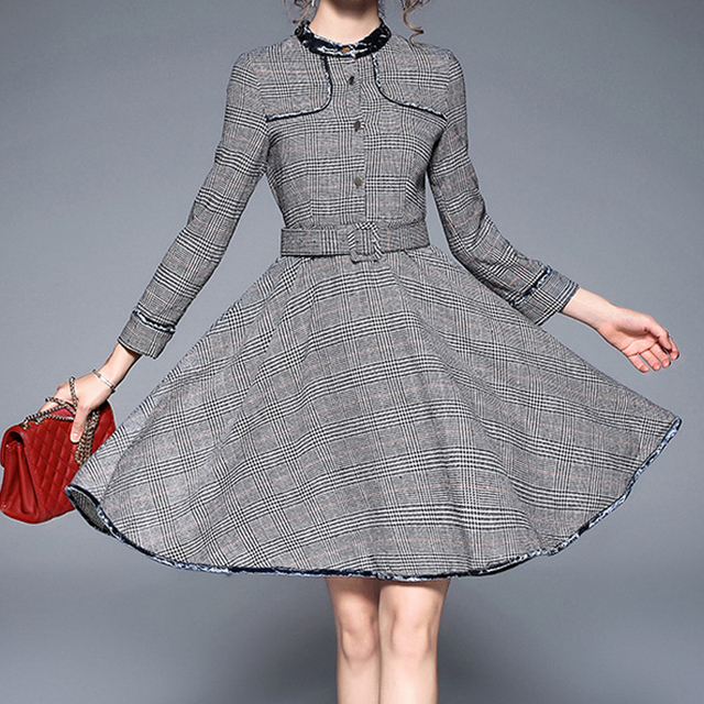 d4e94be29a Long sleeve velvet spliced O neck midi glen plaid dresses for women ladies  elegant button up belted fit flare knee length dress