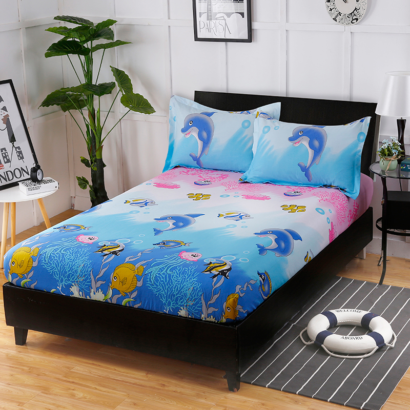 Fashion Cartoon Hot Underwater World Printing Pattern Cotton Bedding Three Sets Of Comfortable And Soft Fitted Sheet+ Pillowcase