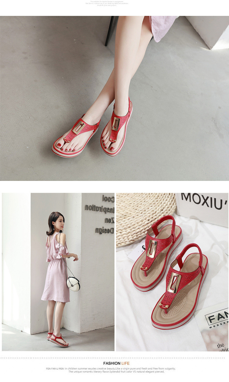 TIMETANGSummer Platform Flip Flops Women Solid Color Beach Sandals Soft Leather Comfortable Low Heels Flats Shoes Metal Big Size