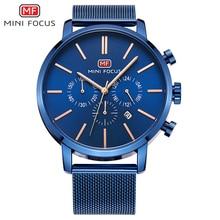 De primeras Marcas de Lujo del Cronógrafo de Los Hombres Relojes Deportivos Reloj de Los Hombres Del Ejército Militar Reloj de Pulsera de Cuarzo de Acero Inoxidable Macho MINI Reloj de ENFOQUE