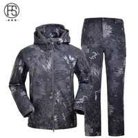Military Tactical Men Outdoor Waterproof Camouflage Suits TAD Sharkskin Jacket And Pants Men Hunting Clothes Toread