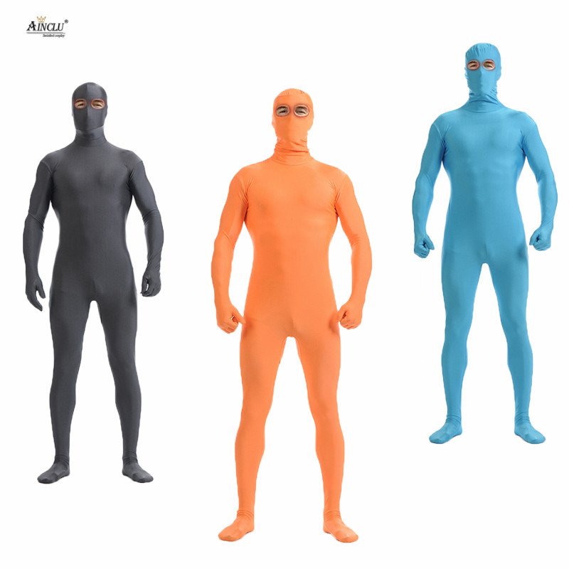 Ainclu unisexe Zentai Lycra Nylon Spandex Costume yeux ouverts multicolore Costumes pour hommes Cosplay Dancewear Costume body