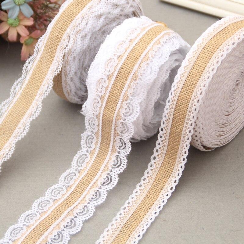 10M wedding decoration casamento Natural Jute Hessian Burlap Ribbon with white Lace Trims Tape Rustic Vintage deco DIY