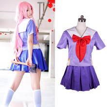 цена на Drop Shipping Hot Future Diary Gasai Yuno Mirai Nikki School Uniform Cosplay Costume Suit Wig
