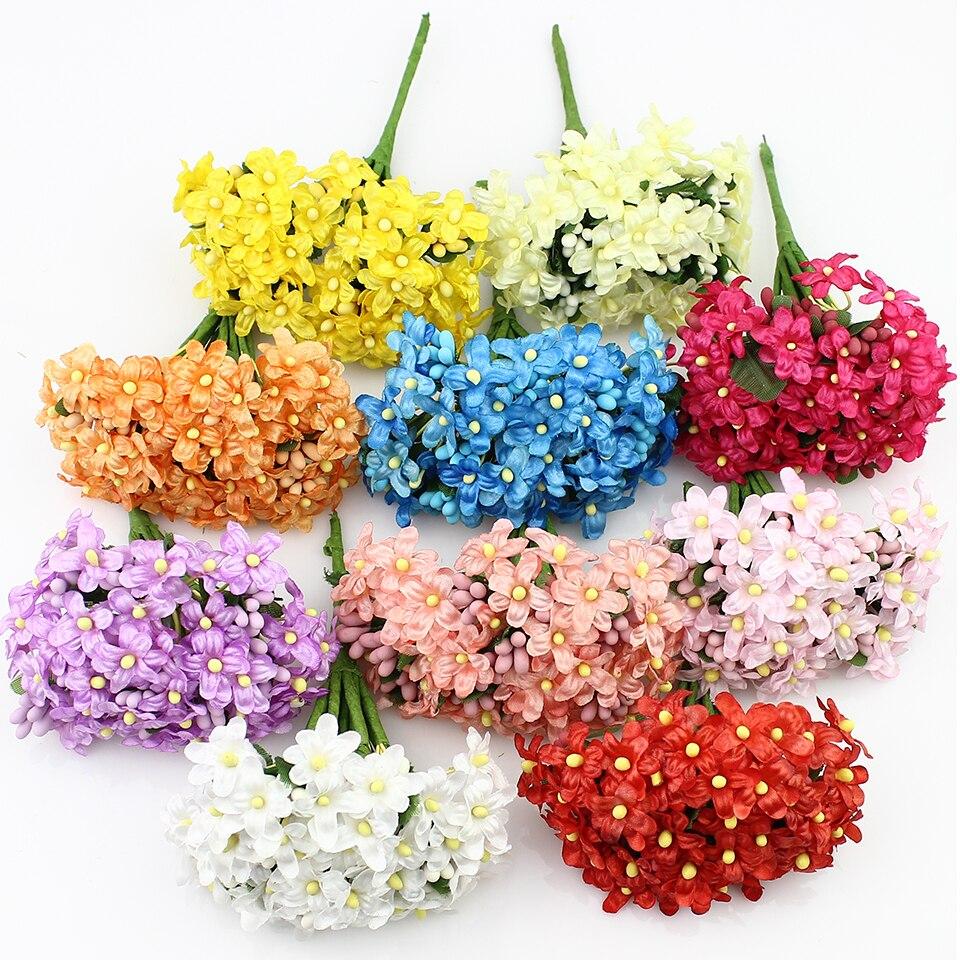 144 штук Мини шелковые детские дышащие букет, искусственный Ткань алычи цветут цветы венки записки украшения