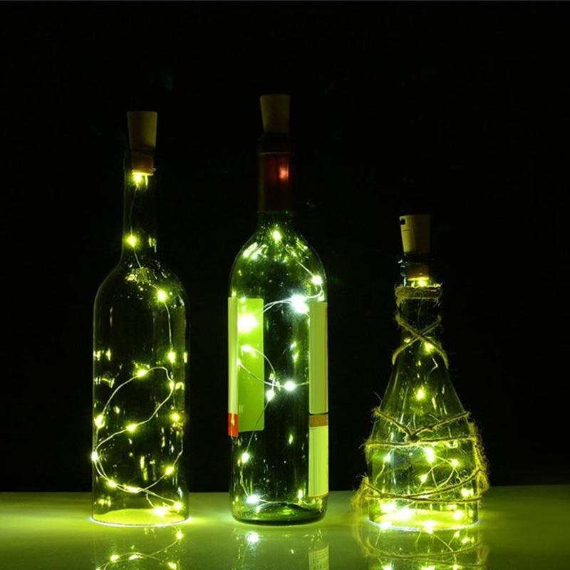 1M 10 LED Lamp Bottle Stopper Glass Wine Waterproof Solar Energy Wire String Light Wedding Christmas Light Holiday Decor Lamps