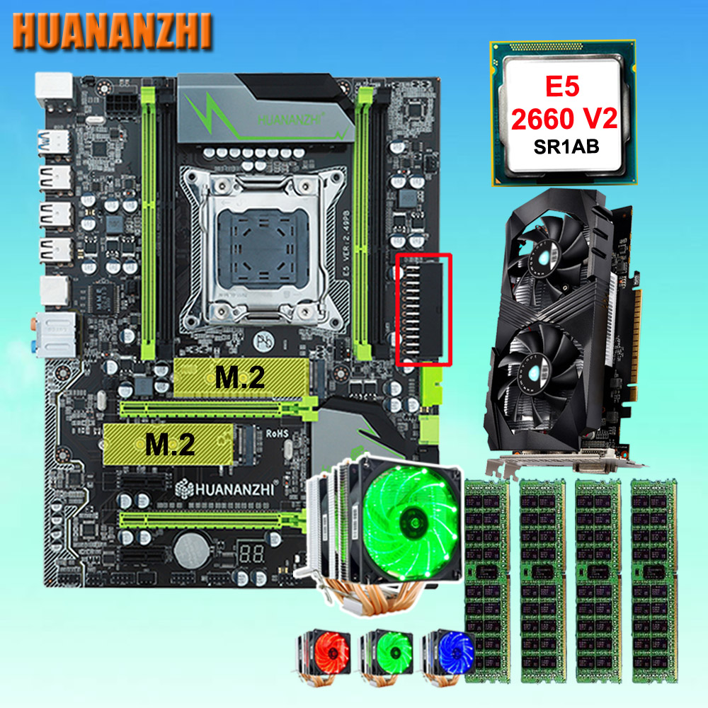 HUANANZHI X79 Pro carte mère avec DOUBLE M.2 NVMe slot CPU Xeon E5 2660 V2 6 tubes cooler RAM 32G (4*8G) GTX1050Ti 4G vidéo carte