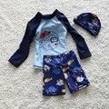 Niños traje de baño los niños traje de baño para Niños trajes de baño lindos para adolescentes Niños de Manga Larga Camisa y Shorty Troncos de Natación del bebé