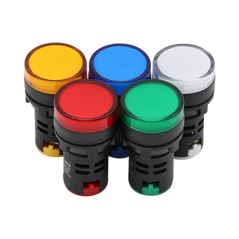 22mm Panel Mount Signal Power Led Indicator Light Blue Green Red White Yellow Pilot Lamp AC DC 12V 24V 220V Signal Warning Lamp
