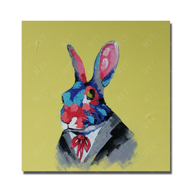 Cute rabbit abstract painting faces nice design beautiful wall ...
