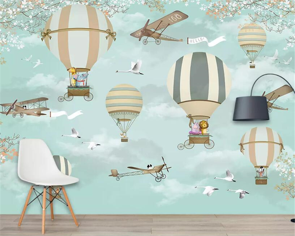 Beibehang Large 3d Wallpaper Hand-painted Cartoon Hot Air Balloon Fairy World Children's Playground Background Wall 3D Wallpaper