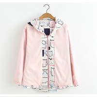 Spring Autumn Casual Japanese Style Girls Cute Cartoon Cat Printed Women Long Sleeve Zipper Hooded Jackets