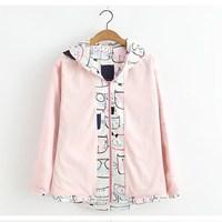 Spring Autumn Casual Japanese Style Girls Cute Cartoon Cat Printed Women Long Sleeve Zipper Hooded Jackets