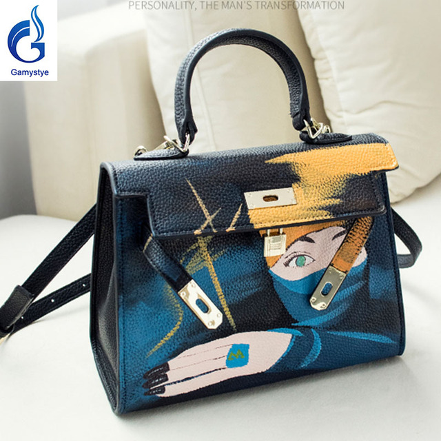 4d0b887786f4e 2018 جميلة النينجا حقيبة حقيقي جلد النساء رسول حقائب اليد الشهيرة رسمت  اللوحة مخصصة السيدات اليد