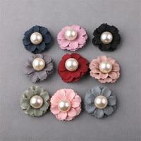 Envío libre 20 unids 30mm perla Core Telas flores artesanía Niñas Bisutería para pelo Bow Center Clips decoración ornamento decoración de la ropa