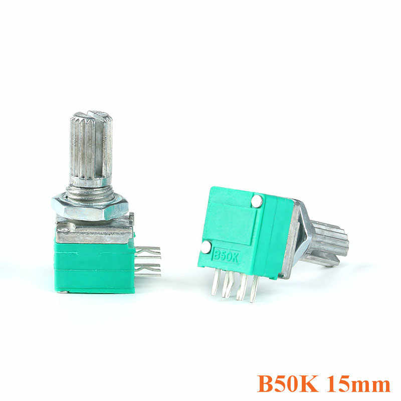 2 pcs B50K Potensiometer 15mm Dual 6pin Ganda Potensiometer 50 K Untuk Audio Power Amplifier