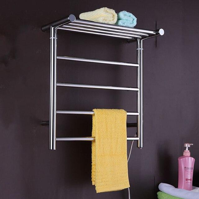 Sèche-serviettes électrique en acier inoxydable   En acier inoxydable, support mural pour serviettes, porte-serviettes, étagère pour salle de bain avec finition noire mate